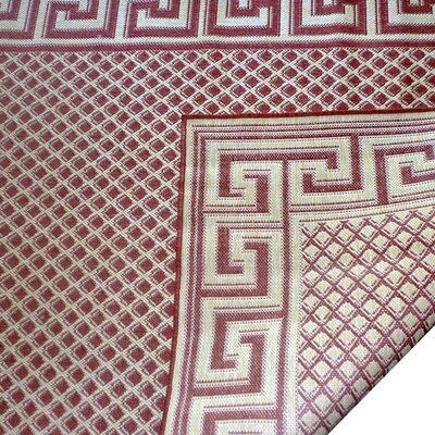 Greek Key Burgundy/Cream Geometric Indoor/Outdoor Area Rug Rug Size: 79 x 112