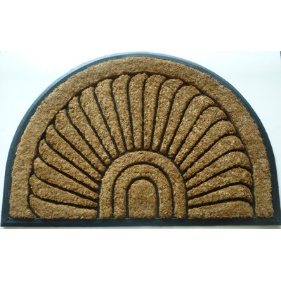 Ashworth Tuffcor Sunburst Doormat Size: 24x36 half round, Color: Black Rubber Trim