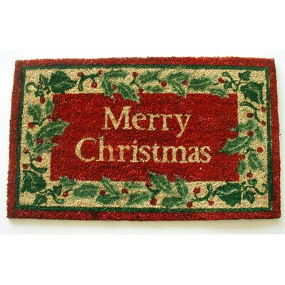 Holly border Merry Christmas Doormat