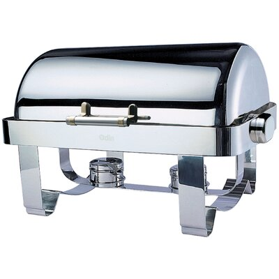 Odin Oblong Roll Top Chafing Dish with Stainless Steel Legs and Spoon Holder 1A1234B