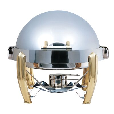 Medium Odin Round Roll Top Chafing Dish with Brass Plated Legs, Heater and Spoon Holder 1A1242BRA