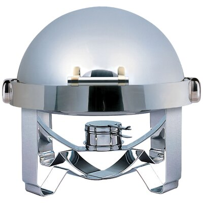 Medium Odin Round Roll Top Chafing Dish with Stainless Steel Legs, Heater and Spoon Holder 1A1245A
