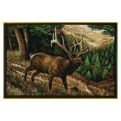 Wildlife Elk Roaming Brown Novelty Outdoor Area Rug Rug Size: 31 x 44
