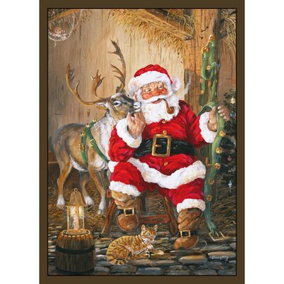 Home Accents Santa and Reindeer Area Rug Rug Size: 31 x 44