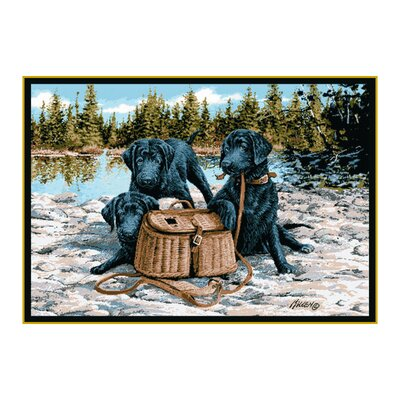Wildlife Gone Fishing Black/Brown Area Rug Rug Size: 31 x 44