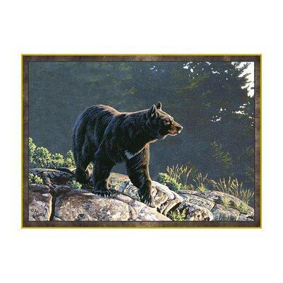 Wildlife Blue/Black Outdoor Area Rug Rug Size: 31 x 44