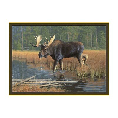 Wildlife Moose Novelty Outdoor Area Rug Rug Size: 31 x 44