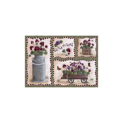 Home Accents Geraniums Area Rug Rug Size: 31 x 44