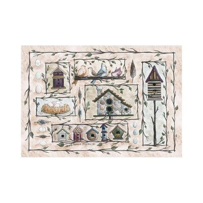 Home Accents Bird Houses Beige Area Rug Rug Size: 31 x 44