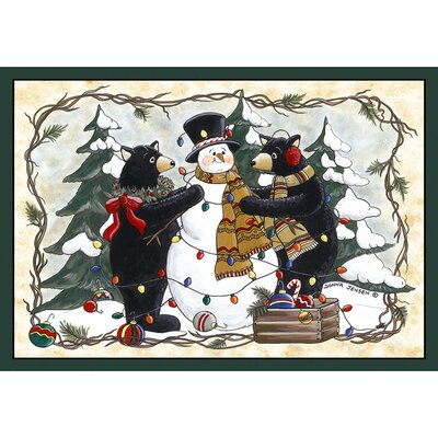 Home Accents Bears and Snowman Area Rug Rug Size: 31 x 44