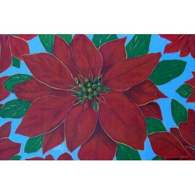 Holiday Poinsettia Doormat