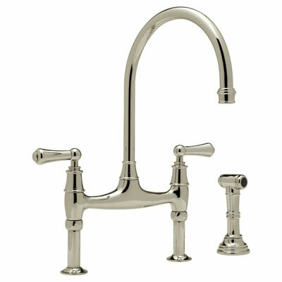 Perrin and Rowe Bridge Faucet with Side Spray Finish: Satin Nickel