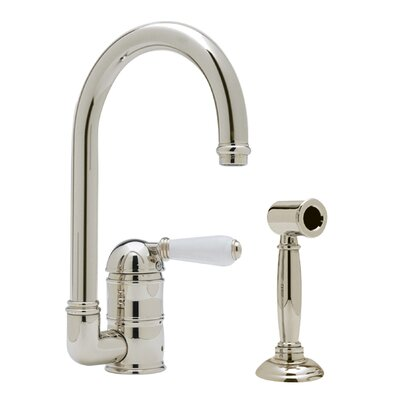 Country Single Handle Kitchen Faucet with Side Spray Finish: Polished Nickel