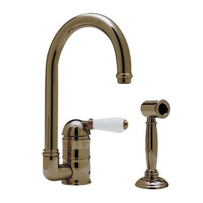 Country Single Handle Kitchen Faucet with Side Spray Finish: Tuscan Brass