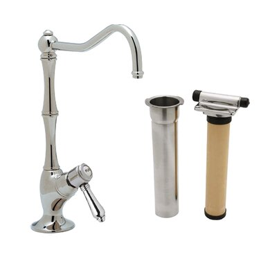 Country Single Handle Kitchen Filter Faucet with Column Spout Finish: Polished Chrome, Handle Type: Porcelain mini lever