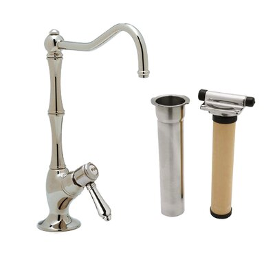 Country Single Handle Kitchen Filter Faucet with Column Spout Finish: Polished Nickel, Handle Type: Metal mini lever
