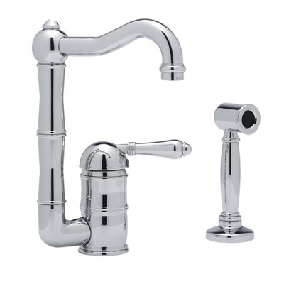 Country Single Handle Kitchen Faucet Finish: Satin Nickel, Side Spray: With Side Spray, Handle Type: Porcelain lever