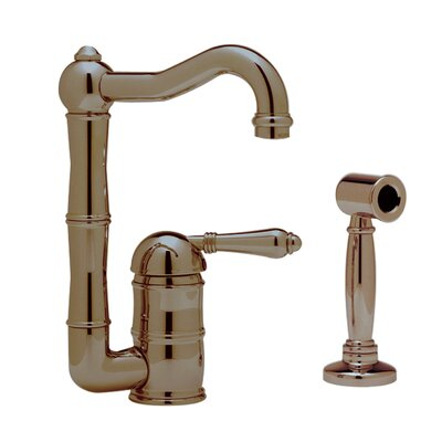 Country Single Handle Kitchen Faucet Finish: Tuscan Brass, Side Spray: With Side Spray, Handle Type: Metal lever
