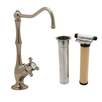Country Single Handle Kitchen Filter Faucet with Column Spout Finish: Tuscan Brass, Handle Type: Metal mini cross
