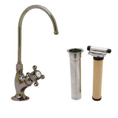 Country Single Handle Kitchen Filter Faucet with Column Spout Finish: Satin Nickel