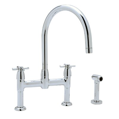 Perrin and Rowe Double Handle Deck Mount Kitchen Faucet Finish: Polished Chrome