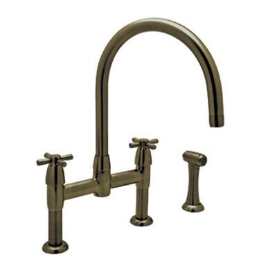 Perrin and Rowe Double Handle Deck Mount Kitchen Faucet Finish: English Bronze