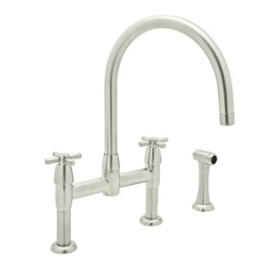 Perrin and Rowe Double Handle Deck Mount Kitchen Faucet Finish: Polished Nickel
