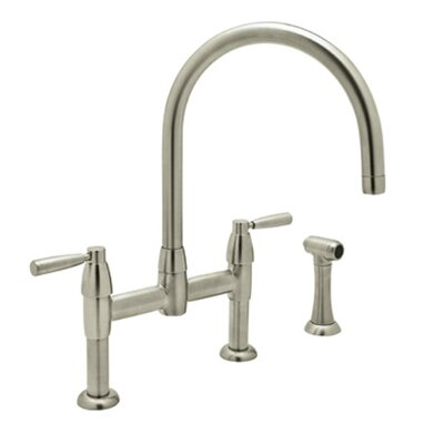 Perrin and Rowe Double Handle Deck Mount Kitchen Faucet Finish: Satin Nickel