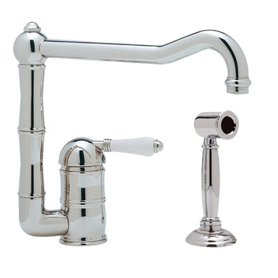 Country Single Handle Kitchen Faucet Finish: Polished Chrome, Side Spray: With Side Spray, Handle Type: Porcelain lever