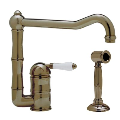 Country Single Handle Kitchen Faucet with Side Spray Finish: Tuscan Brass, Side Spray: With Side Spray, Handle Type: Porcelain lever