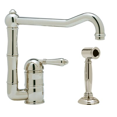 Country Single Handle Kitchen Faucet with Side Spray Finish: Polished Nickel, Side Spray: With Side Spray, Handle Type: Metal lever