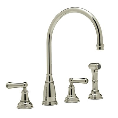 Perrin and Rowe Double Handle Athenian Kitchen Faucet with Lever Handle Finish: Satin Nickel