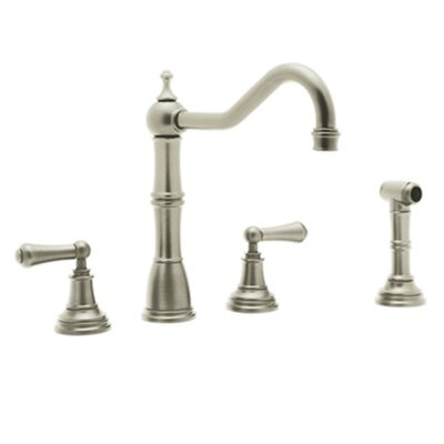 Perrin and Rowe Double Handle Alsace Kitchen Faucet Finish: Satin Nickel