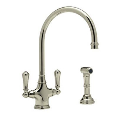 Perrin and Rowe Double Handle Mono Dual Lever Phoenician Kitchen Faucet Finish: Satin Nickel