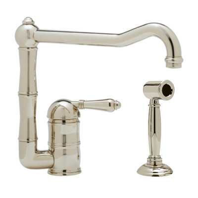 Country Single Handle Kitchen Faucet Finish: Satin Nickel, Side Spray: With Side Spray, Handle Type: Metal lever