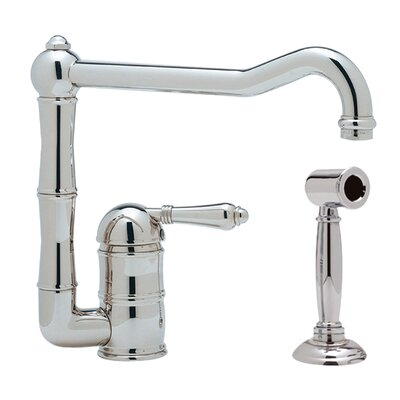 Country Single Handle Kitchen Faucet with Side Spray Finish: Polished Chrome, Side Spray: With Side Spray, Handle Type: Metal lever