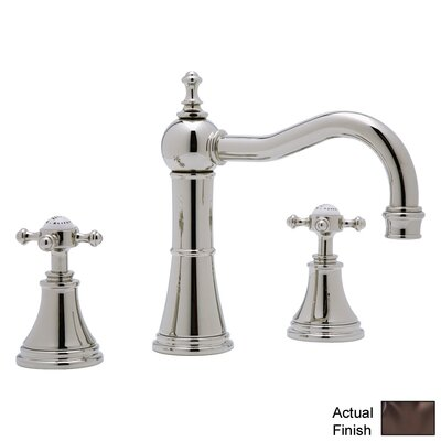Georgian Era Double Handle Widespread Bathroom Faucet with Pop-Up Drain and Cross Handle Finish: English Bronze