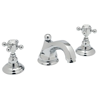 Country Double Handle Widespread Bathroom Faucet with Cross Handle and Pop-Up Drain Finish: Polished Chrome
