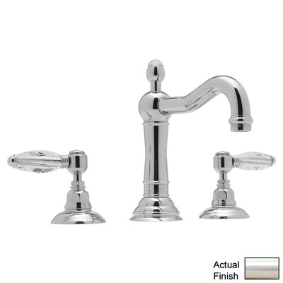 Country Double Handle Widespread Bathroom Faucet with Lever Handle and Pop-Up Drain Finish: Satin Nickel