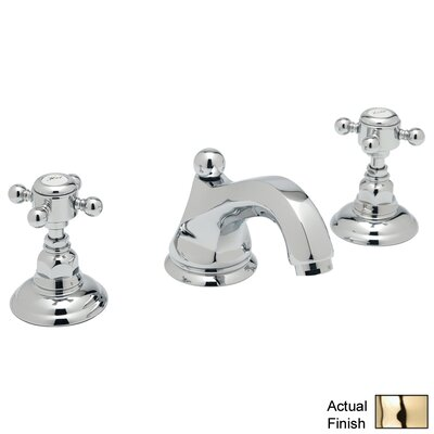 Country Double Handle Widespread Bathroom Faucet with Cross Handle and Pop-Up Drain Finish: Inca Brass