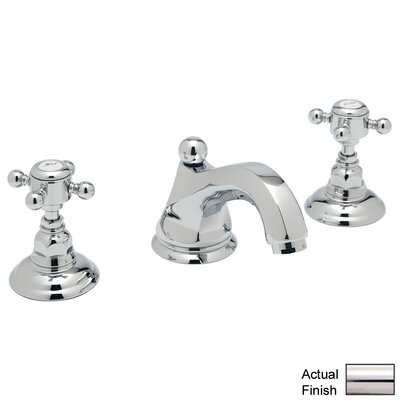 Country Double Handle Widespread Bathroom Faucet with Cross Handle and Pop-Up Drain Finish: Polished Nickel