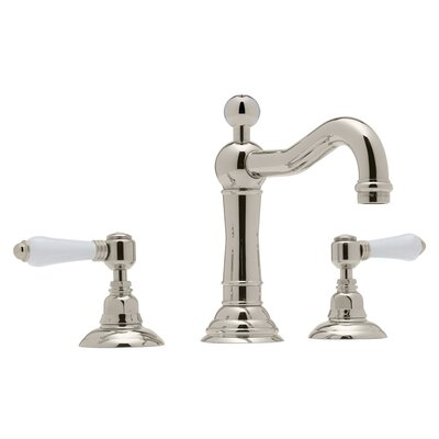 Country Double Handle Widespread Bathroom Faucet with Lever Handle and Pop-Up Drain Finish: Polished Nickel