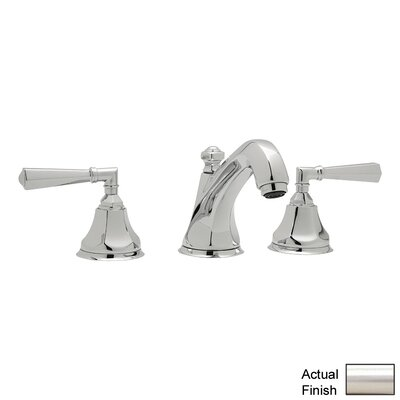 Palladian Double Handle Widespread Bathroom Faucet with Pop-Up Drain and Lever Handle Finish: Satin Nickel