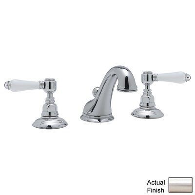 Rohl A1408LP-2 Country Bath Low Lead Widespread Bathroom Faucet with Pop-Up Drain and Porcelain Cross Handles Finish: Satin Nickel
