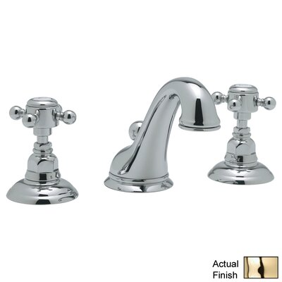 Country Double Handle Widespread Bathroom Faucet with Pop-Up Drain and Cross Handle Finish: Inca Brass