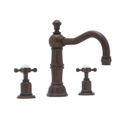 Rohl U.3721X-2 Perrin and Rowe Low Lead Widespread Bathroom Faucet with Pop-Up Drain and Metal Cross Handles Finish: English Bronze
