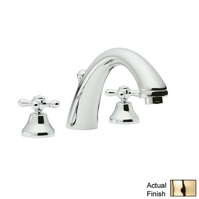 Verona Double Handle Widespread Bathroom Faucet with Pop-Up Drain and Cross Handle Finish: Inca Brass