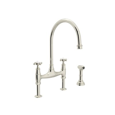 Perrin and Rowe Deck Mount Two Handle Widespread Kitchen Faucet with High C Spout Finish: Polished Nickel