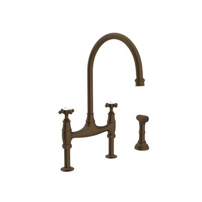 Perrin and Rowe Deck Mount Two Handle Widespread Kitchen Faucet with High C Spout Finish: English Bronze