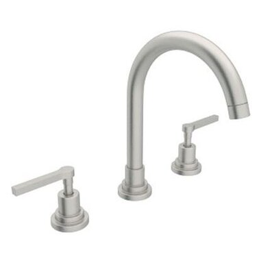 Lombardia Double Handle Widespread Bathroom Faucet with Lever Handle and Pop-Up Drain Finish: Satin Nickel